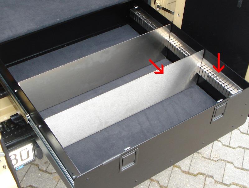 Schlitzschienen inkl.1 Trennelement passend für ORC Schublade kurz
